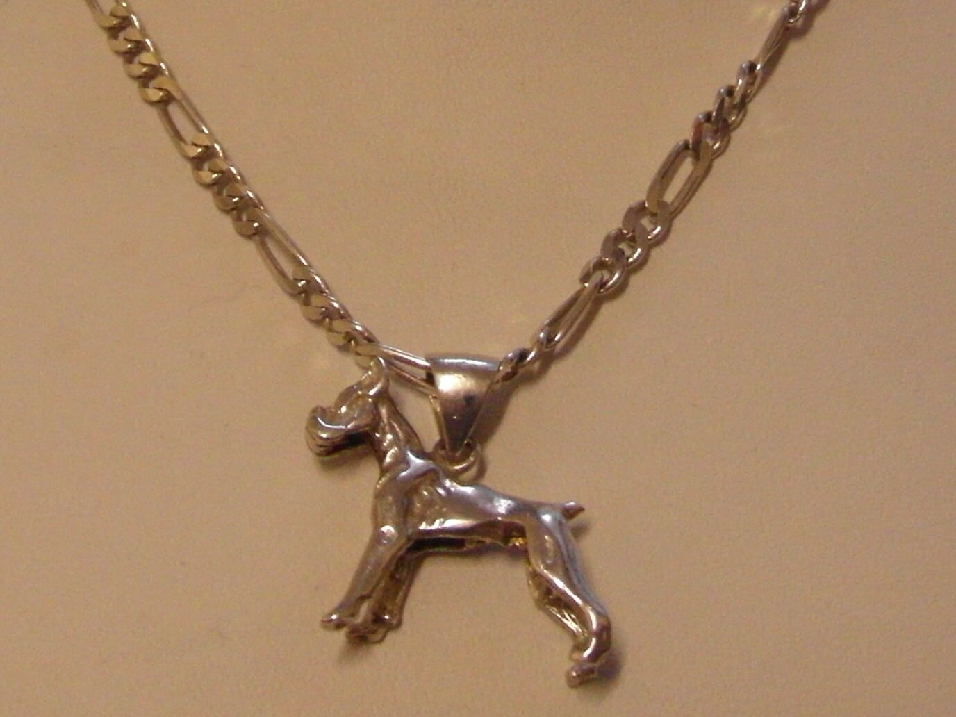 873E VINTAGE STERLING SILVER GENTS LADIES 20 INCH FIGARO CHAIN AND ...