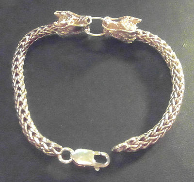 I15 Solid Silver Dragon Head Fancy Design Bracelet